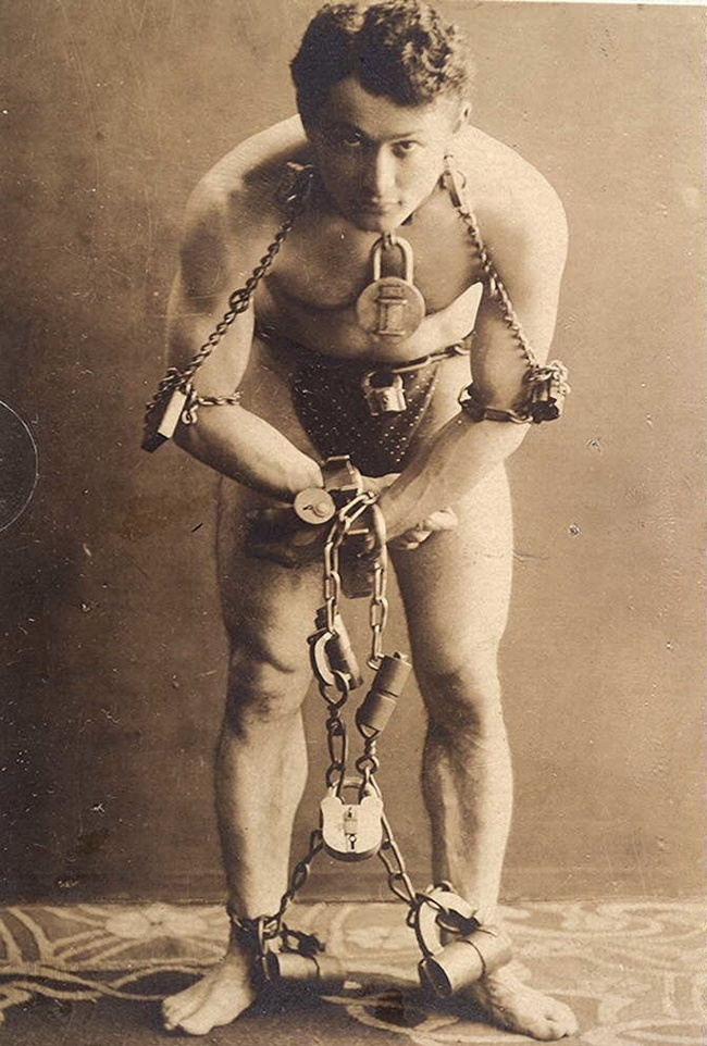 One of staged photos of Harry Houdini, the great magician