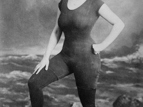 First fitted one-piece bathing costume, 1907. Model was arrested for indecency
