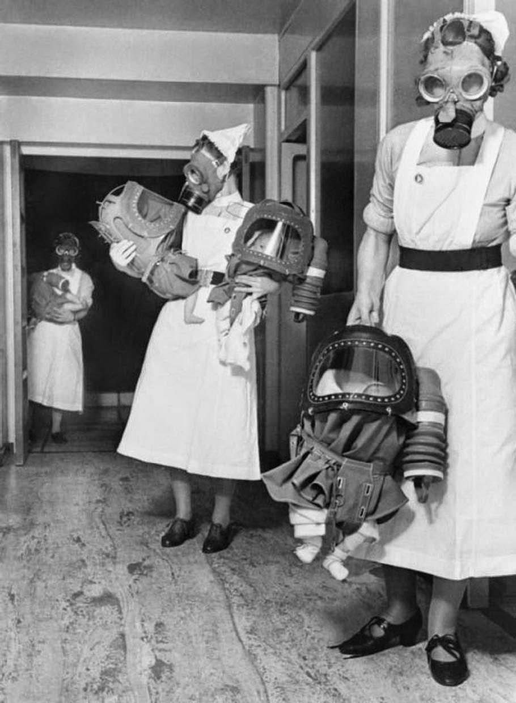 retro photo of babies in baby gas respirators