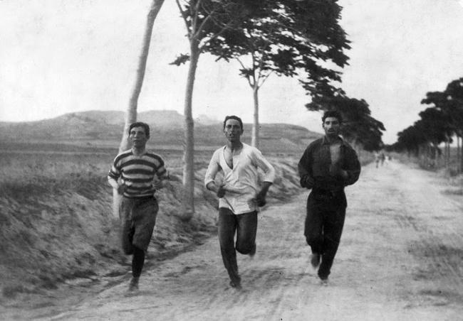 Retro photo of runners training for the first modern Olympic games in 1896