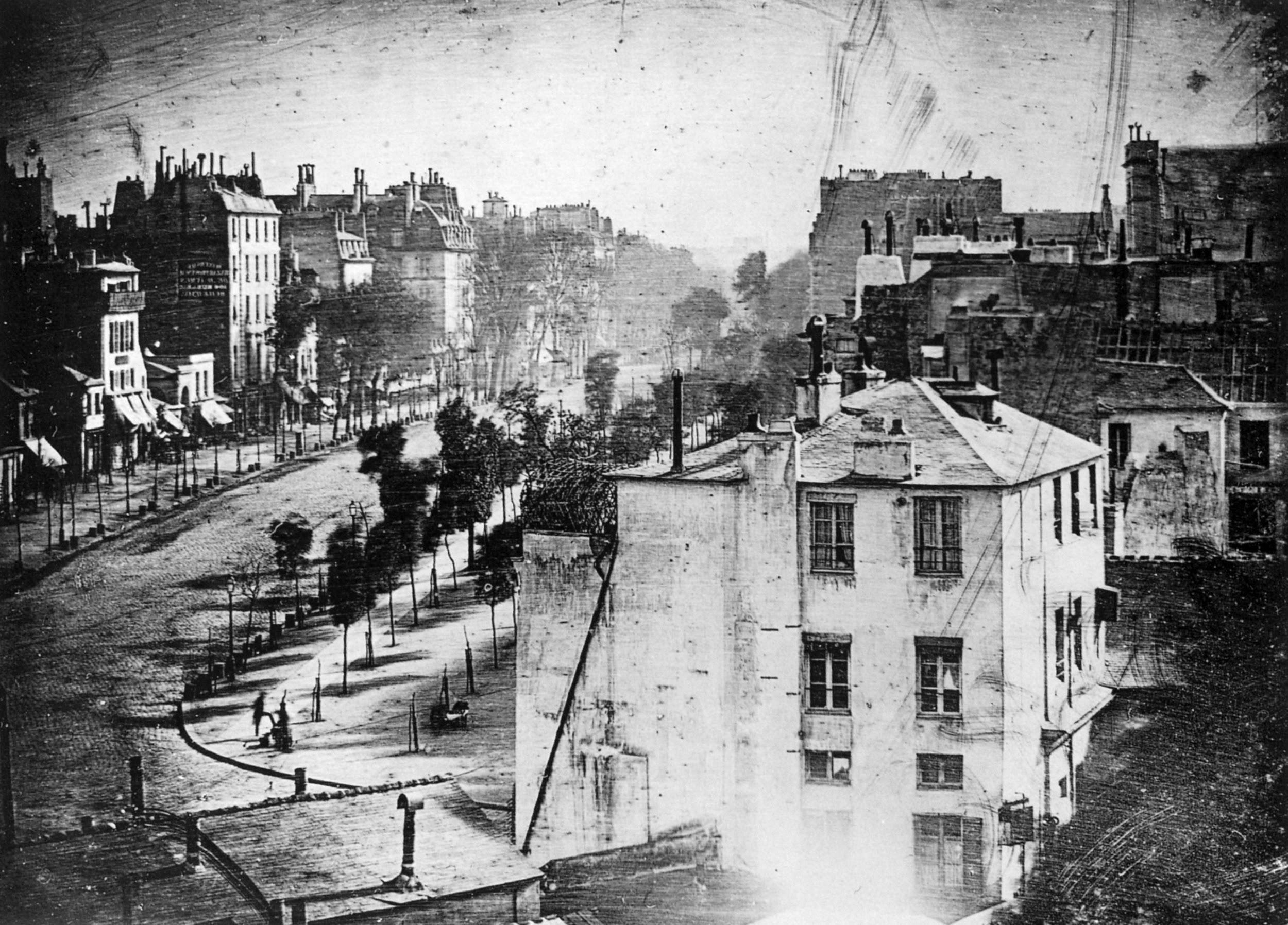 A daguerreotype. First known photo of human. Boulevard du Temple, Paris. 1838.