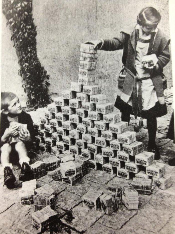 Kids playing with money blocks