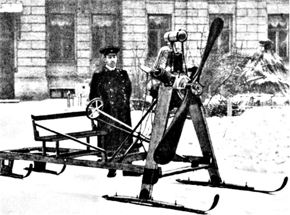 retro photo of Sikorsky with his snowmobile