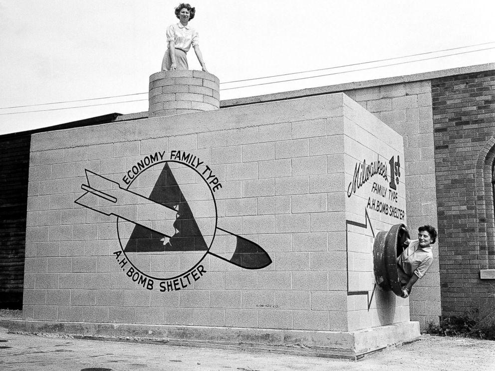 retro photo of a family nucliar bomb shelter