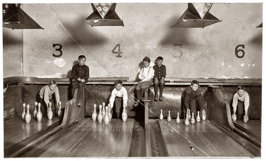 vintage photo of bowling