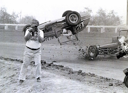 Looking for a good shoot. A car crash during the Mid-Winter Race at California's Imperial Fairgrounds, 1976