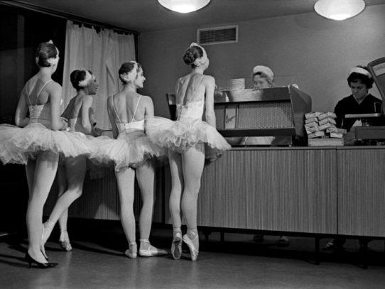 Soviet ballet dancers in a cafe, 1963