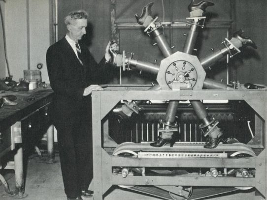 Test machine for footwear testing, 1937