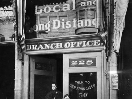 The First telephone pay station in LA, 1899