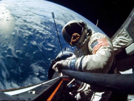 Buzz Aldrin and First Space Selfie, 1966