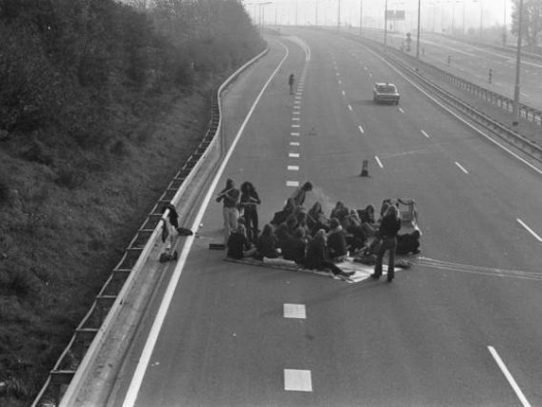 People Having a Picnic on a Deserted Highway During the Great Oil Crisis in Netherlands, 1973