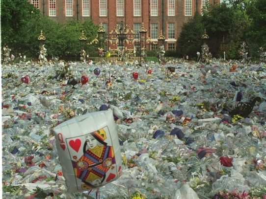 Flowers in front of Kensington Palace after Princess Diana's death, 1997