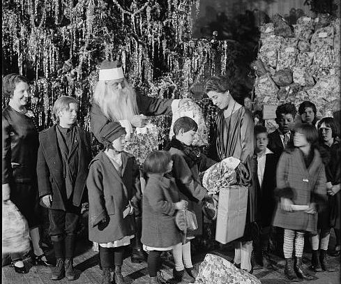 Santa Claus with children, 1927