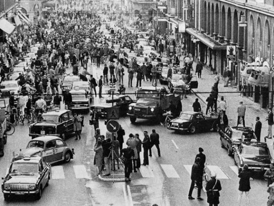 Stockholm, the day after Sweden changed driving from the left-hand side of the road to the right, September, 1967