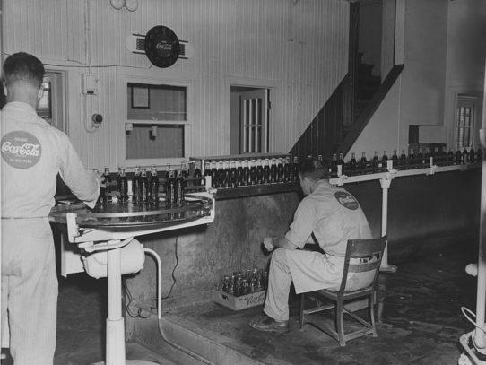 Coca-Cola bottling line, Kansas factory, circa 1958