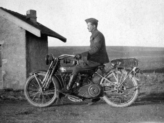 Soldier on a U.S. Harley-Davidson motorcycle, circa 1918