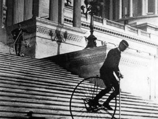 Riding down the steps of the United States Capitol, 1885