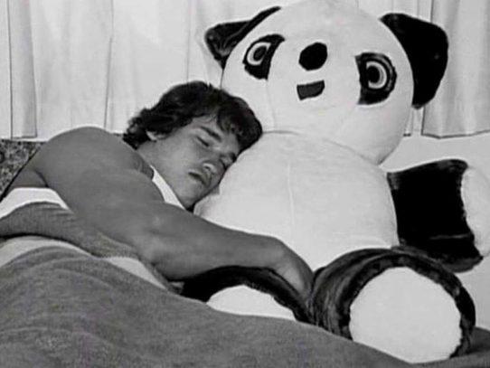 Arnold Schwarzenegger sleeping with a stuffed Panda bear, 1960s