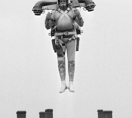 Flying jetpack test, Virginia,  1969