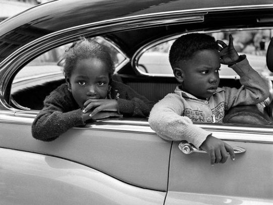 Kids in a car, New York, 1950s