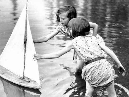 Two Girls With a Toy Sailboat, Seattle, 1930s