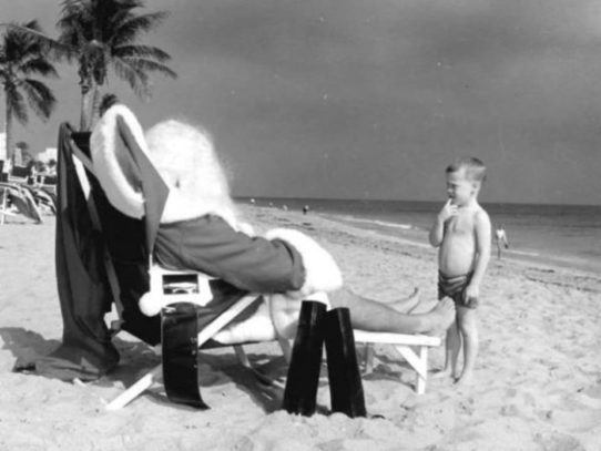 Santa on the beach, Florida, 1964