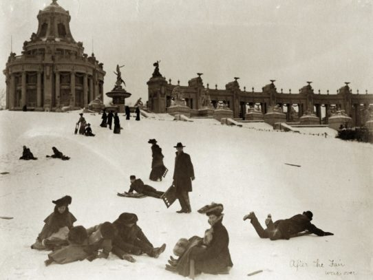 Sledding down Art Hill, after the 1904 World's Fair