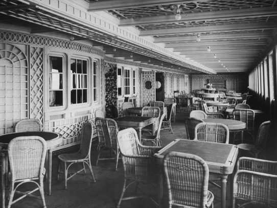A first class cafe on the Titanic, 1912