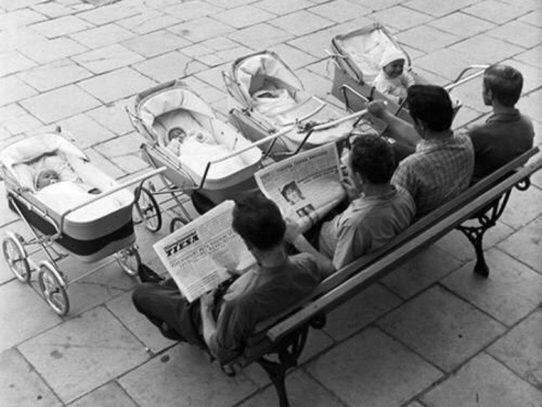 Dads with their babies, Vilnius, Lithuania, 1969