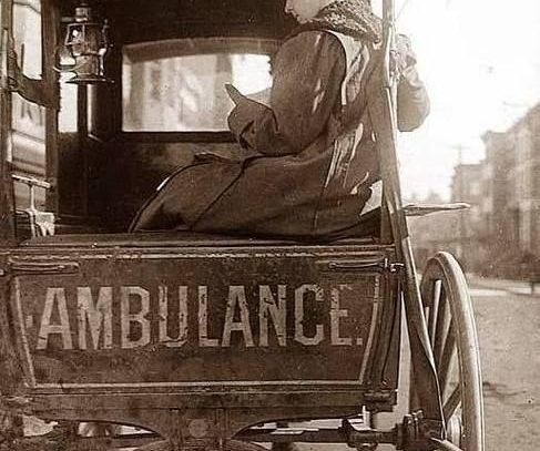 Dr. Bryun in a Horse Drawn Ambulance, New York, 1910