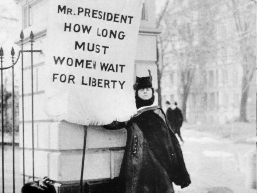 Suffragist protest near the White House, circa 1917