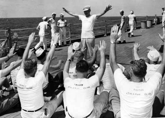 President Truman leading exercises on the USS, Missouri, 1947