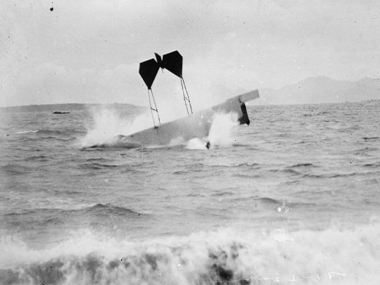 Pilot Hugh Armstrong Robinson making a crash landing on water near Nice, France, 1912