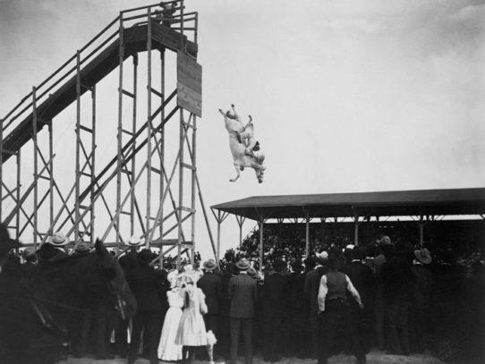 A popular attraction of the 20th century - diving horse, Pueblo, Colorado, 1905