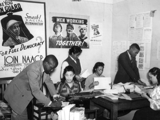 Working in NAACP office, Detroit, Michigan, 1940s