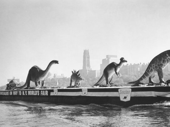 Dinosaurs being transported to New York City World's fair, 1964