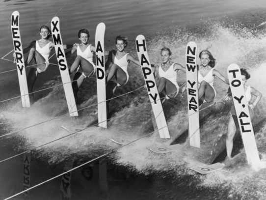 Water Skiing Greetings With New 1969 Year, Florida