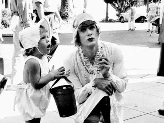 Tony Curtis and his daughter Kelly on the set of Some Like It Hot, 1959