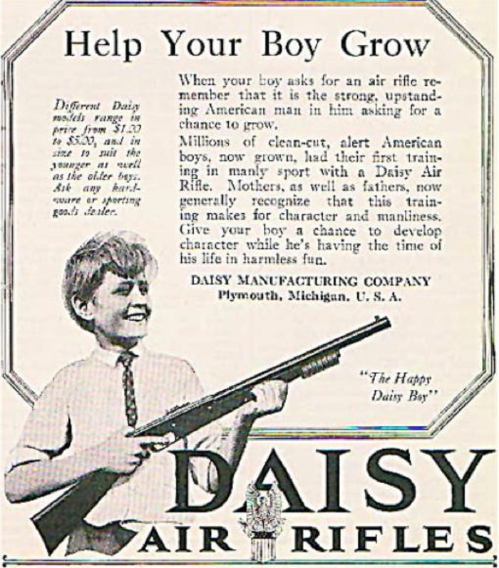 kid advertising a gun
