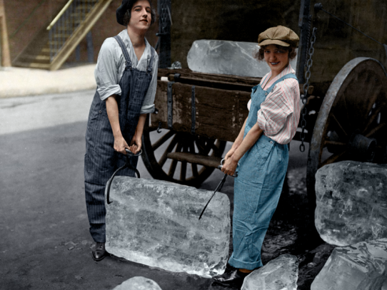 Ice-ladies delivering a block of ice, 1918