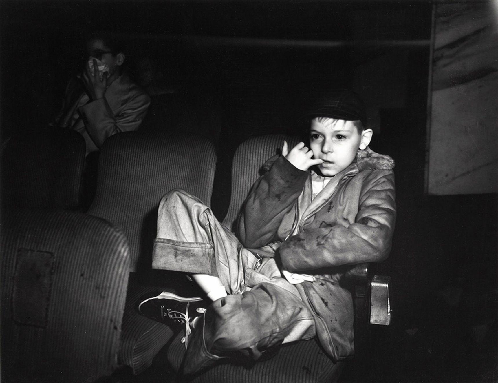 boy watching movie in the cinema