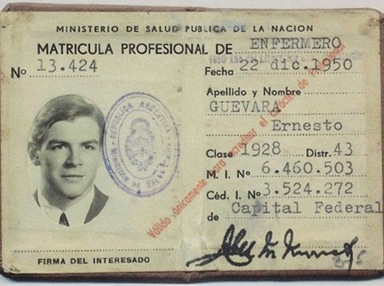 Historical photo of Che Guevara's Nursing License