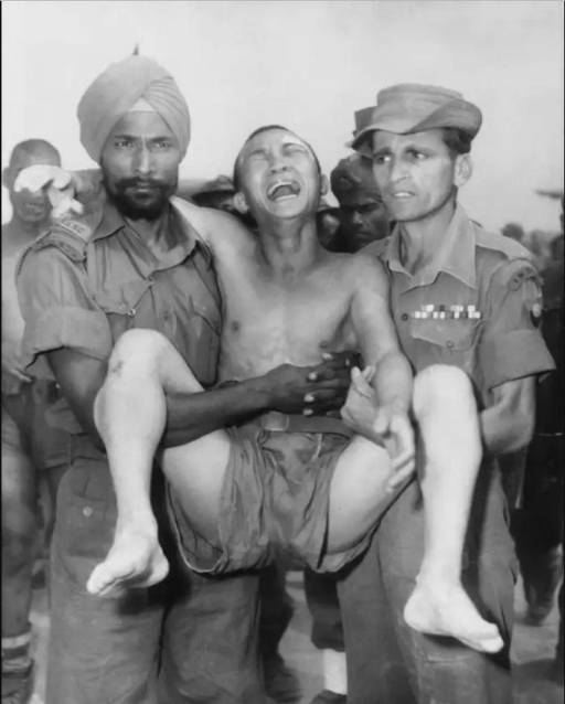 Chineese soldier carried by Indians
