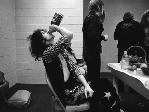 Jimmy Page, Led Zeppelin, drinking whiskey, Indianapolis, IN, 1975