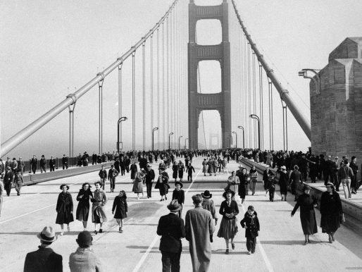 The opening of the  Golden Gate Bridge