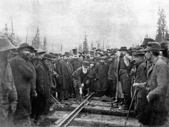 The last spike photo of the Canadian Pacific Railway, November 7, 1885