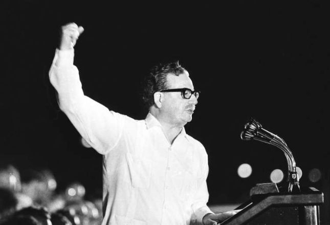 Allende during presidential rally