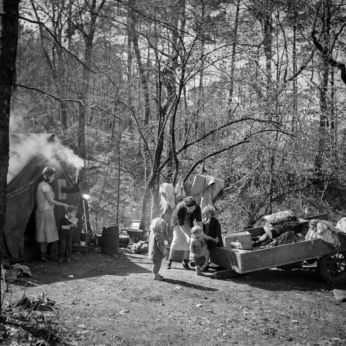 A migrant encampment in Birmingham, Alabama
