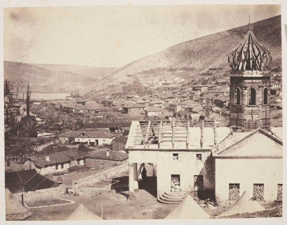 Balaklava view, Orthodox church destroyed with fire
