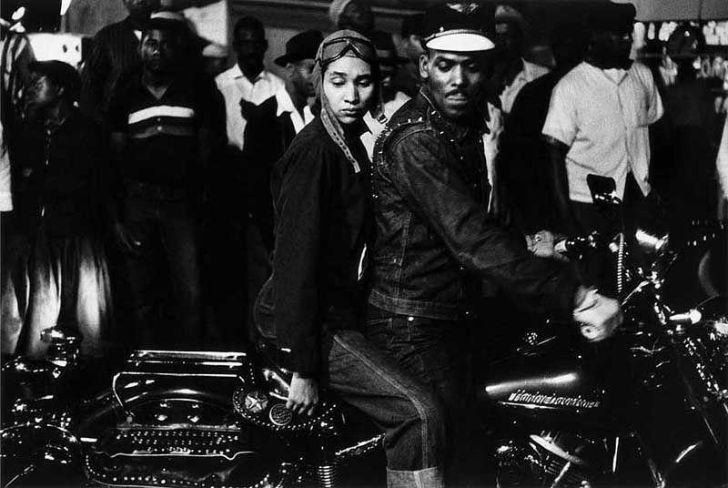 Black couple on a Harley, 1956